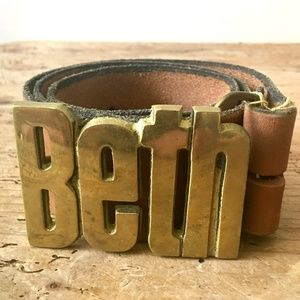 "Vintage ""Beth"" Solid Brass Buckle + Leather Belt"